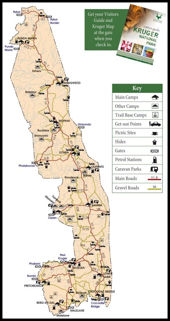 Mapa del Kruger con campamentos y carreteras principales; 3viajes.com