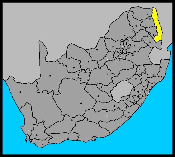 Mapa de Sudáfrica, con el Kruger pintado de amarillo; luventicus.org
