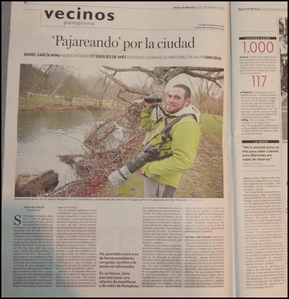 Diario de noticias; http://m.noticiasdenavarra.com/2014/01/20/vecinos/pamplona/39pajareando39-por-la-ciudad (20-1-2014)