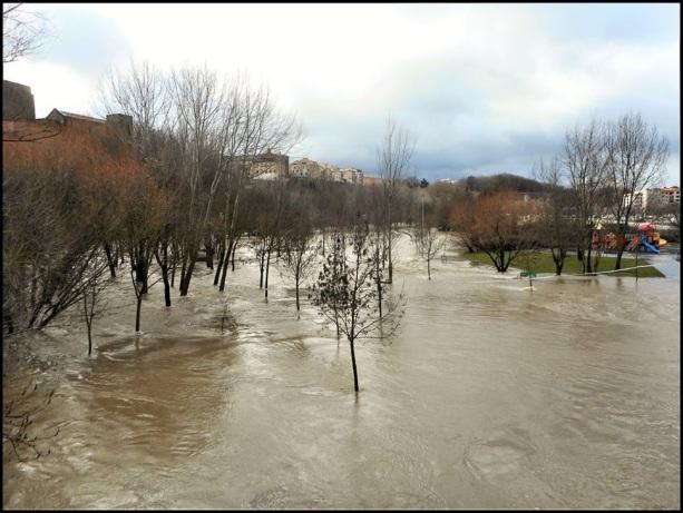 El agua invadiendo totalmente el paseo fluvial (16-1-2017); Txelo Fernández